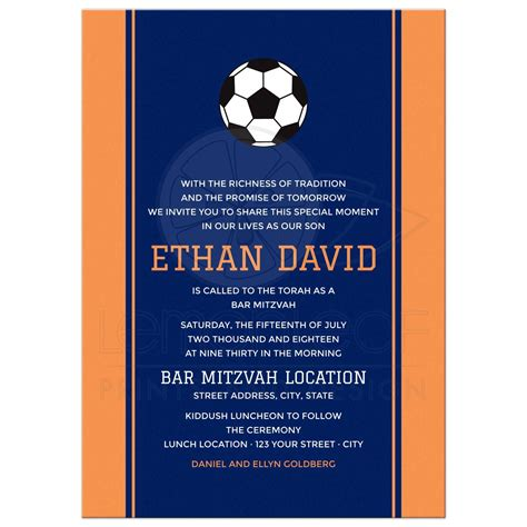 Bar Mitzvah Invitations by Navy Blue Soccer Bar Mitzvah Invitation With Orange Side
