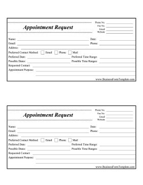 seminar appointment request cards templates appointment request form template