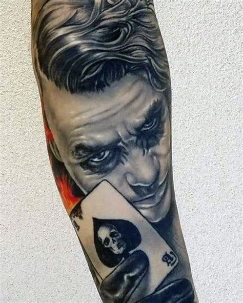black and grey joker tattoo 90 joker tattoos for men iconic villain design ideas