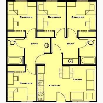 denah rumah minimalis 1 lantai 4 kamar tidur gambar rumah idaman