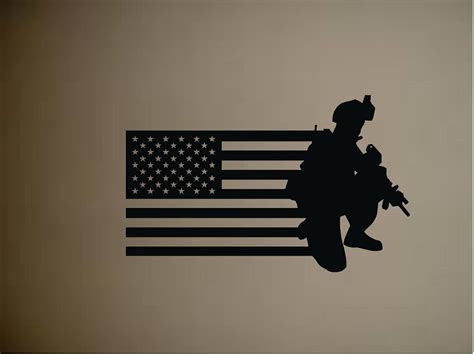 soldier wall stickers soldier army with us flag vinyl