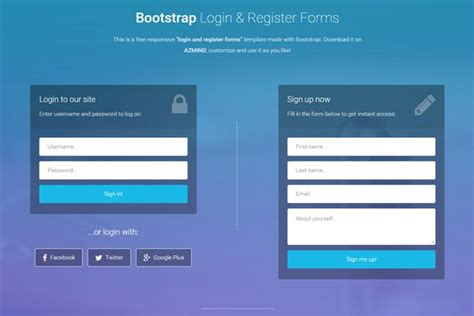 sign up form html template bootstrap login and register forms in one page 3 free
