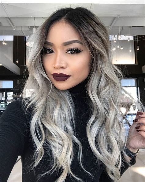 going gray from light golden brown hair with highlights ash blonde balayage on dark brown hair