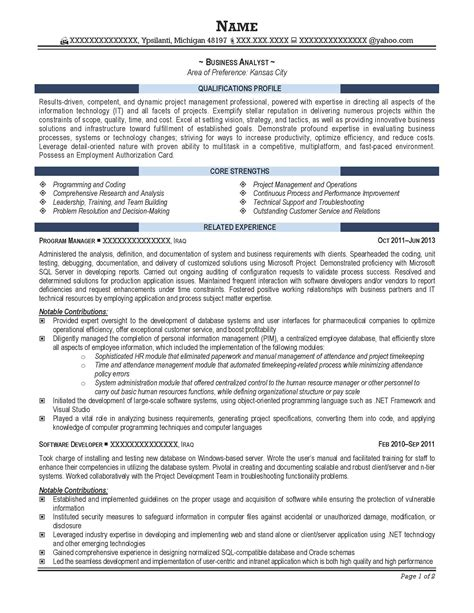 resume sections business analyst resume finance industry resume sections