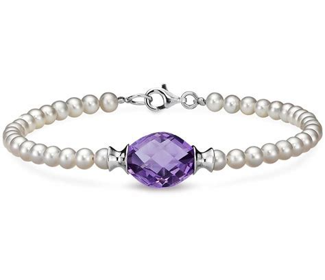 Freshwater Cultured Pearl and Amethyst Bracelet with