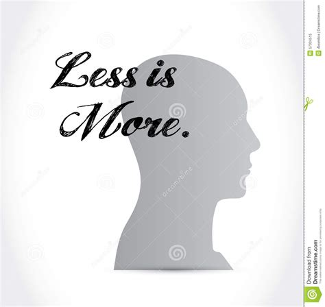 design concept less is more less is more mindset sign concept stock illustration