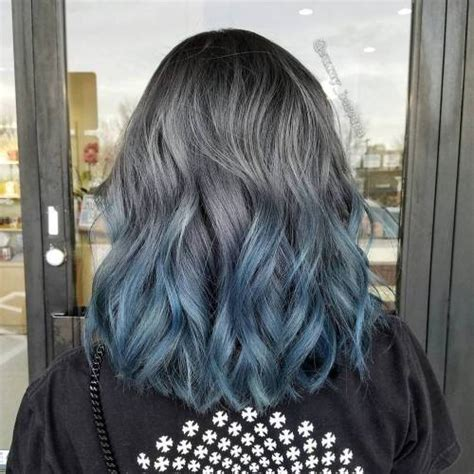 salt and pepper hair with lilac tips 40 fairy like blue ombre hairstyles