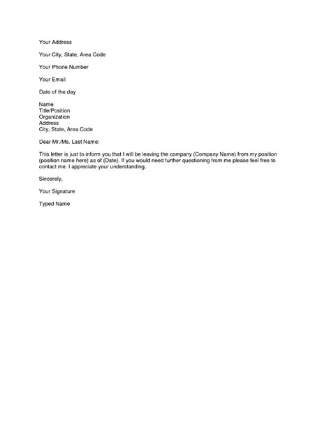 simple resignation letters how to write easy simple resignation letter sle