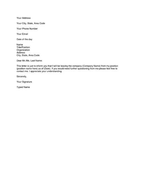 Simple Resignation Letter 1 Month Notice Simple