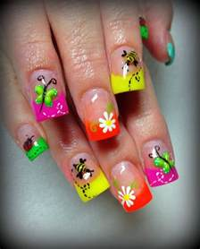 pics photos bright colorful nail designs picture