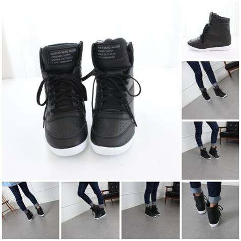 Boots Wedges Korea Style White womens korean high top wedge flatform lace up heel