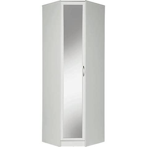 1 Door Corner Wardrobe by Cheval 1 Door Mirrored Corner Wardrobe White