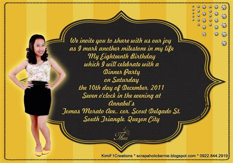 Exle Of Invitation Letter In Debut Invitation For Debut Birthday Quotes Quotesgram