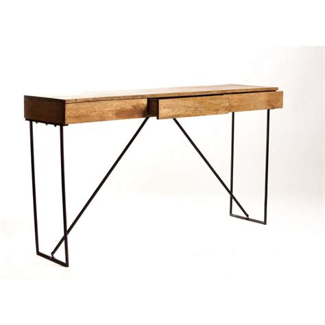 console bureau design bois m 233 tal 3 tiroirs