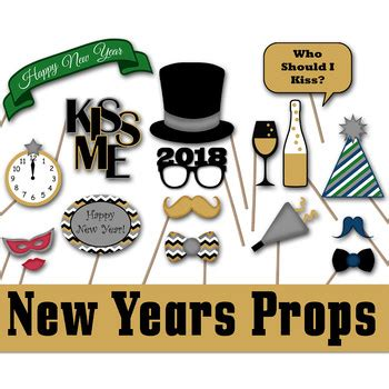 printable photo booth props new year 2018 new years eve 2018 photo booth props and decorations