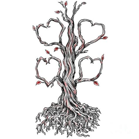 twisted heart tattoo twisted oak tree branch digital by