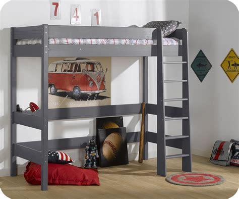lit mezzanine enfant clay gris achat mobilier bois massif