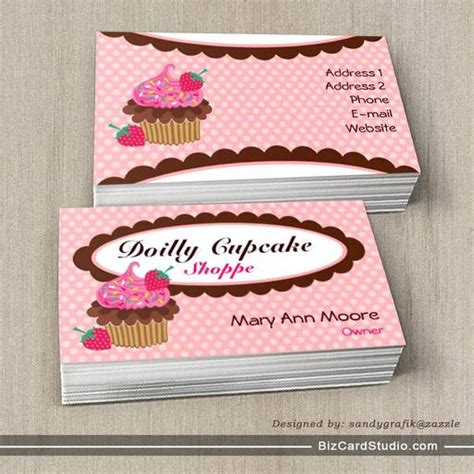 cupcake business cards templates doilly cupcake business cards