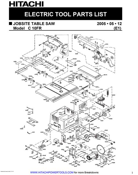 parts of a table page 2 hitachi c10fr parts jobsite table saw