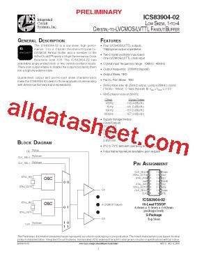 integrated circuit systems ics83904 02 datasheet pdf integrated circuit systems