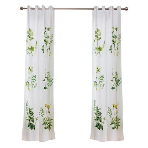 Curtains Green And White White And Green Botanical Curtains Panels