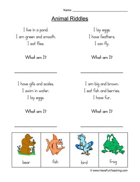 free printable animal riddles kindergarten riddles worksheet breadandhearth