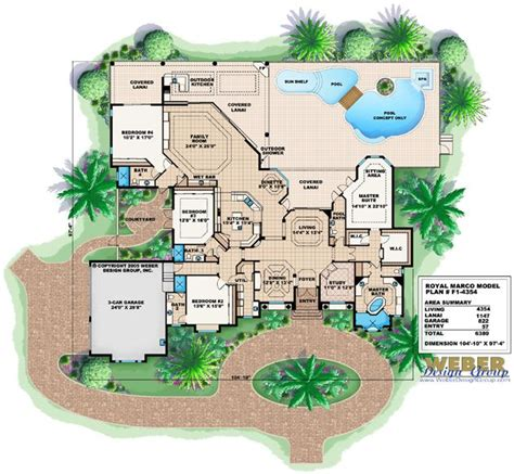 House Plans With Courtyard royal marco home plan mediterranean house plans exterior