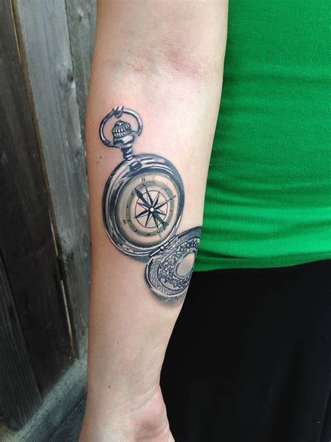 san clemente tattoo 3d realistic compass by monte livingston at living