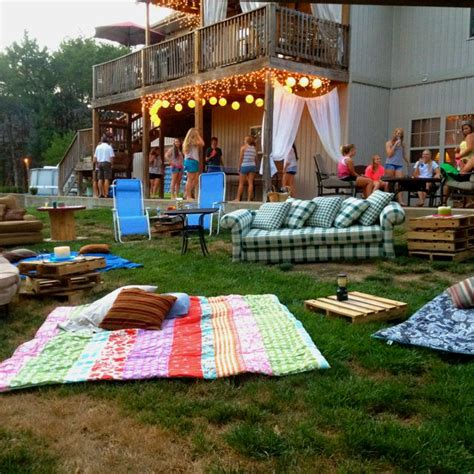 backyard movie party ideas outdoor movie night 16th birthday party swimming movie