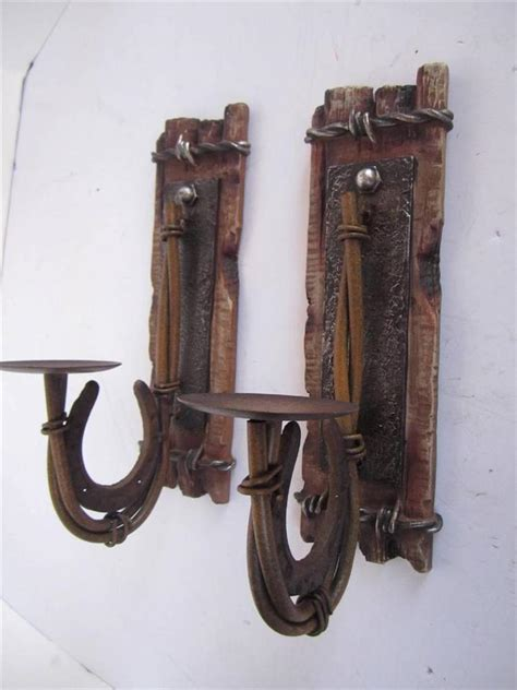 Western Sconces metal horseshoe rustic candle holder sconce wall plaque western decor lot of 2 ebay