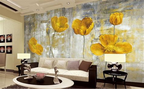 wohnzimmer gelbe wand aliexpress buy yellow flower photo wallpapers murals