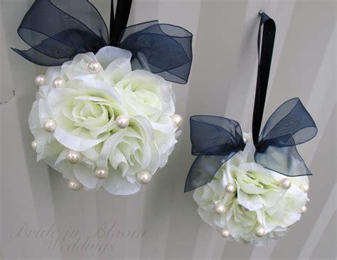 wedding aisle flower balls wedding flower balls white navy blue flower pomander
