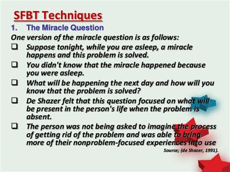The Miracle Questions Solution Focused Brief Therapy Sfbt