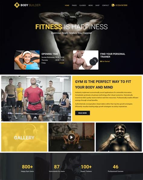 collection of fitness center html website template best website