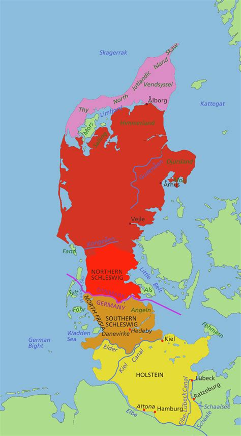 germany denmark map map of the jutland peninsula politically shared by