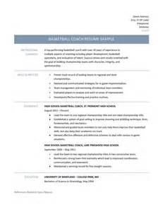 Basketball Coach Resume Example Basketball Coach Resume Samples Tips And Templates