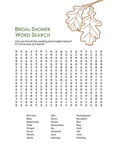 Bridal Shower Word Search by Bridal Shower Word Search Flickr Photo