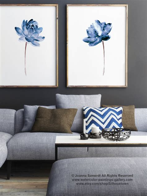 artwork home decor lotus set of 2 watercolor painting blue water flowers art