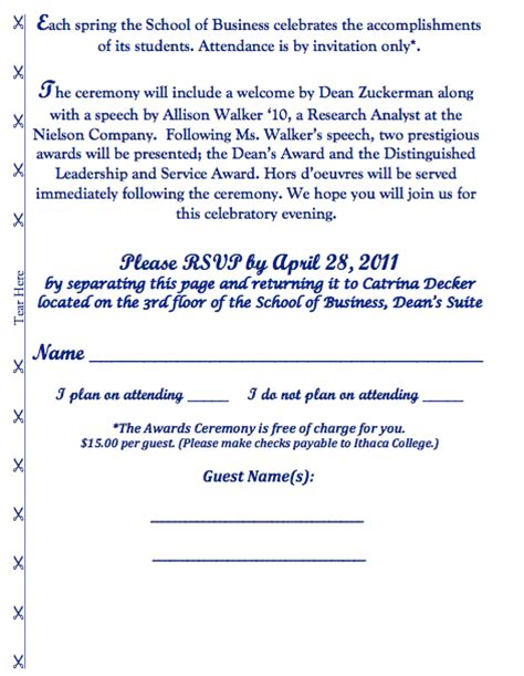 thank you letter for award ceremony 15th annual student recognition award ceremony invite on