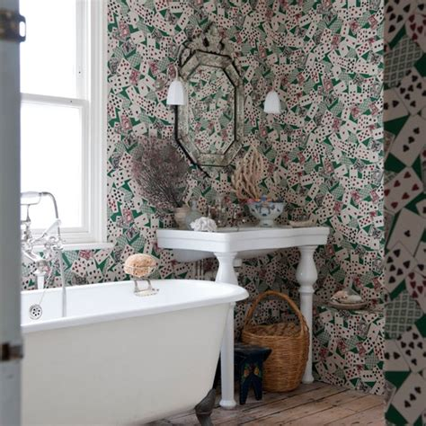 bathroom wallpaper ideas uk bathroom with card patterned wallpaper unusual bathrooms