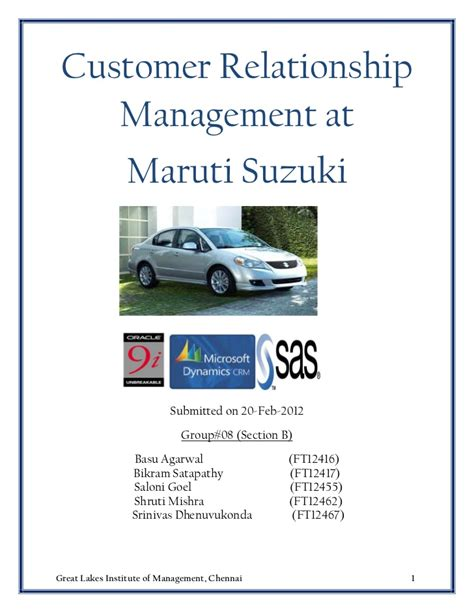 Maruti Suzuki Mba Project by Customer Relationship Management At Maruti Suzuki