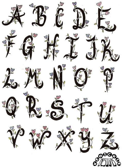 tattoo alphabet designs lettering a z interior home design