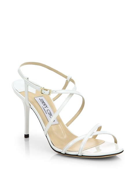 white sandals jimmy choo elaine strappy patent leather sandals in white