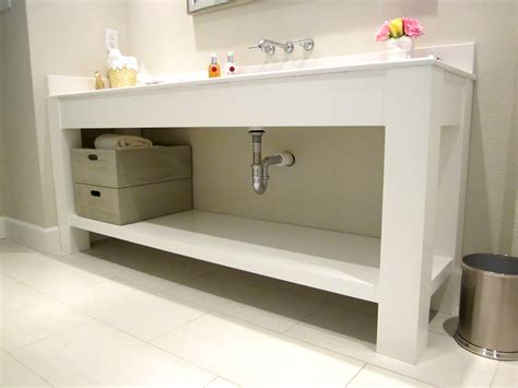 Jared meadors custom cabinets houston bath vanity console open contemporary painted white