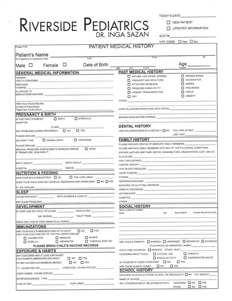Forms Riverside Pediatrics New Patient Health History Form Template