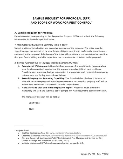 21 Pest Control Proposal Sle Perfect Scholarschair Pest Bid Template