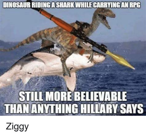 Dino Meme - dinosaur ridingasharkwhilecarrying an rpg still more