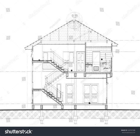 Section Cut by House Plan Section Cut Stock Photo 520797598