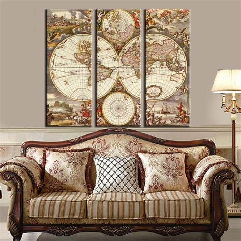 home decor europe unframed 3 panel vintage world map europe painting home