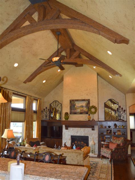 great room  arched truss beams